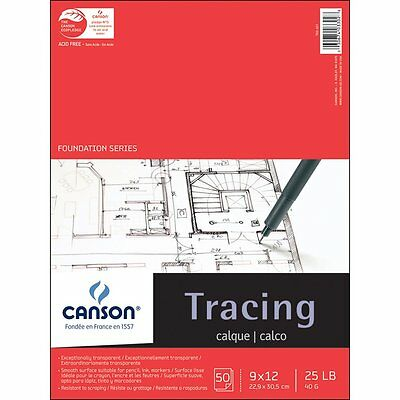 Pro-Art 9-Inch by 12-Inch Canson Tracing Paper Pad, 50-Sheet