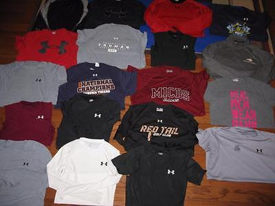 Lot Of 19 Adult Mens Under Armour Tees Compression Shirts Shorts Tank All Medium