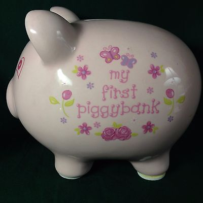 My First Piggy Bank Pink with Flowers & Butterflies--No Chips or Cracks--Pink