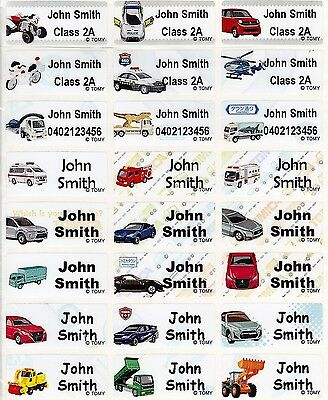 96 Tomica Personalised Name Label Stickers Med 30*13mm Dishwasher (Cars) 30*13mm