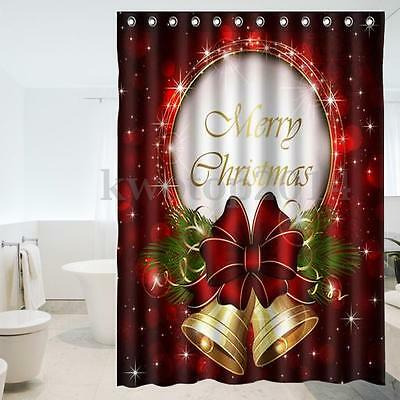 150x180cm Merry Christmas Campana Cortina De Baño Ducha Panel 12 Ganchos Shower