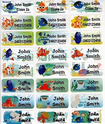 96 Finding Dory Personalised Name Label Stickers Med 30*13mm Dishwasher Safe