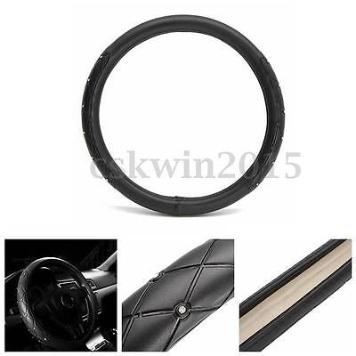 38cm Diamond Fiber Leather Bling Car Steering Wheel Black Cover Car Accessories