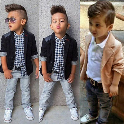 3PCS/Set Kid Baby Boy Business Suit Coat+Shirt Tops+Long Jeans Pants Clothes Lot