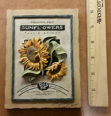 3D Sunflowers Hamilton Quality Premium Seed Porciline Wall Plaque Farm Decor