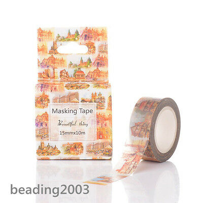 1roll DIY Scrapbook Buildings Theme 15mm Decorative Adhesive Tapes 10m/roll