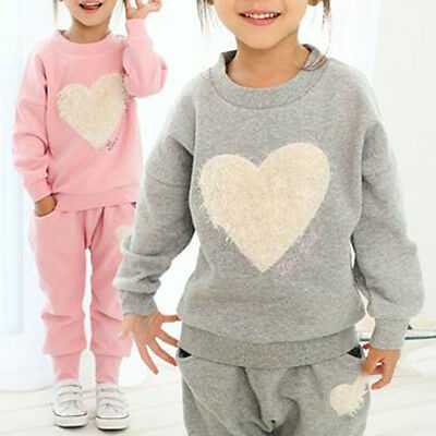 Girls Kids Sweet Heart Clothes Tracksuit Top+Jogger Pant Outfits Casual Suit Set