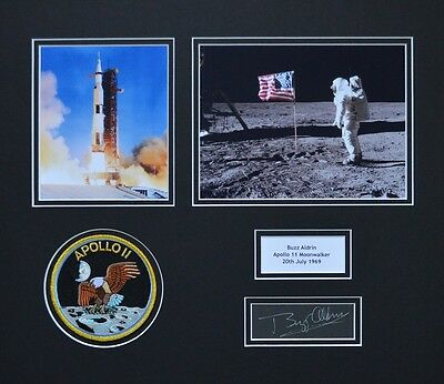 Buzz Aldrin Signed & Mounted Dual Photo Apollo 11 Presentation -Authentic