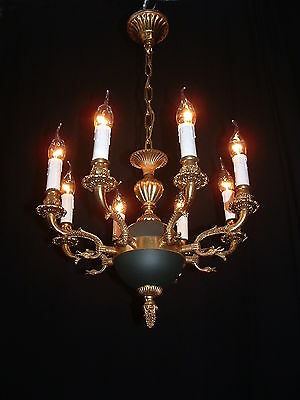Old French bronze Empire style 8 arm chandelier green patina and figural • CAD $934.38