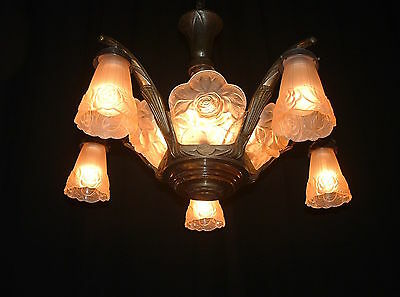 Antique French Art Deco chandelier Bronze wood frosted glass shades and panels