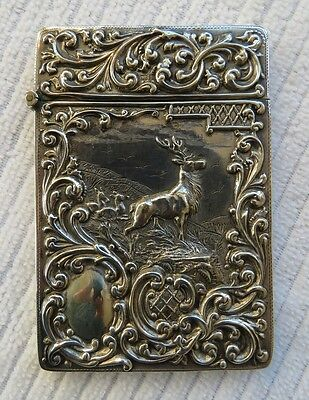 Antique Edwardian Silver Card Case, 'Monarch of the Glen', Stag