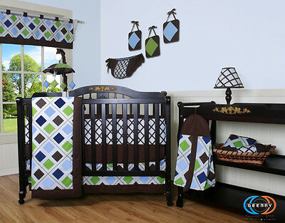 Baby Boy Boutique Blue Brown Diamond 13PCS Nursery CRIB BEDDING SET