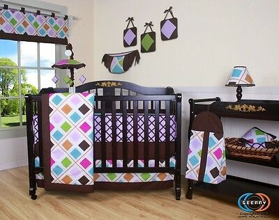 Baby Boutique Pink Brown Diamond GEENNY 13PCS Nursery CRIB BEDDING SET