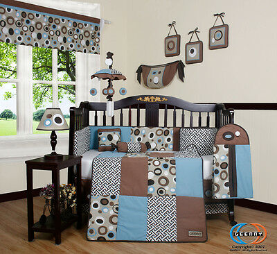 Baby Boutique Blue Brown Scribble Boy 13PCS Nursery CRIB BEDDING SET
