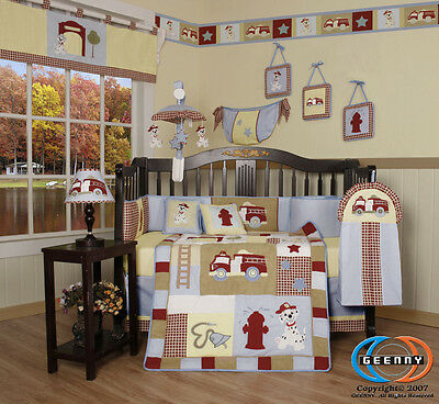 Baby Boutique Boy Fire Truck GEENNY 13PCS Nursery CRIB BEDDING SET