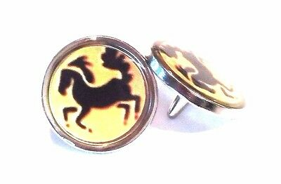 anneys - TWO - GOLF  BALL  MARKERS with PIN - Horses.