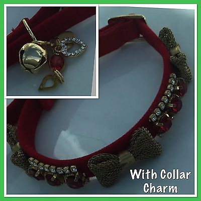 Red Crystal  Cat Collar with Charm and Bell enchanced with Swarovski Crysta