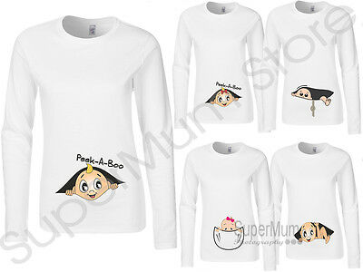Maternity Pregnancy Funny Long Sleeve Top T-shirt Gift Baby Shower Peek a boo