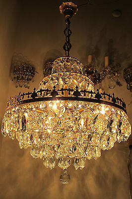 Antique Vnt French HUGE Basket Style Crystal Chandelier Lamp 1940's 19in dmtr