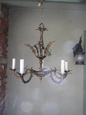Antique Brass Traditional Tudor French Style 5 light Chandelier. SPAIN?