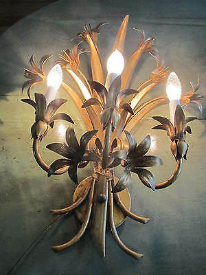Antique Old World Regency Shabby Chic Tole Metal DAY LILIES wall Sconce! RARE