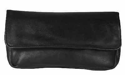 Soft Leather Tobacco Pouch Organiser with Space for Money Black ML1201