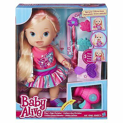 Baby Alive Play n Style Christina Blonde Style my Hair NEW