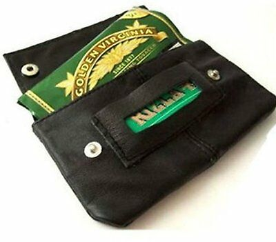 Leather Tobacco Pouch Organizer with Space for Money Black ML1199