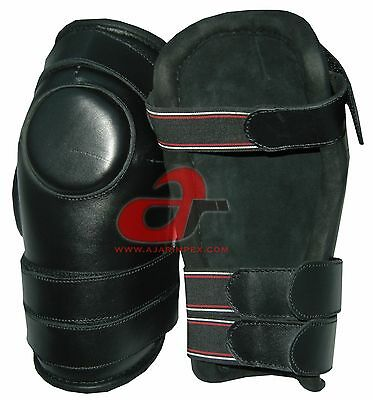 3 Strap Polo & Ridding Knee Guards - Leather and Padded 100% Real Leather