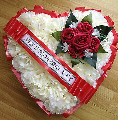 Red Roses Silk Funeral Flowers Heart Wreath Memorial Tribute Grave Artificial