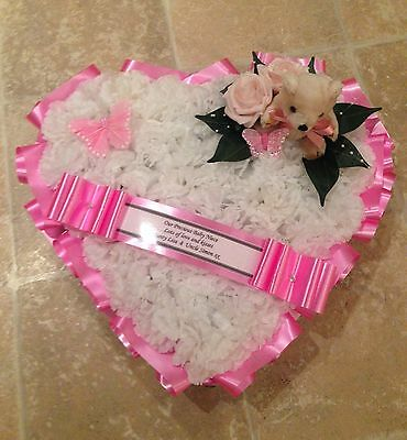Silk Funeral Flowers Heart Wreath Memorial Grave Baby Pink Teddy Butterfly
