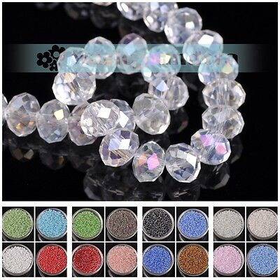Wholesale 3~8mm Glass Crystal Rondelle Faceted Loose Spacer Beads Jewelry Making