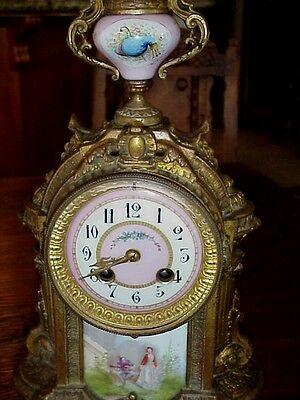Antique Bronze H&H French Parlor Clock With Hand Painted Porcelain Panel And Urn