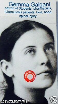 St Gemma Galgani Relic Card  + 4  Other Relic Cards of Saint Free Post UK