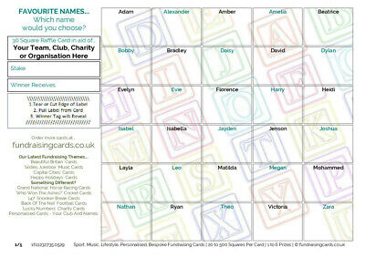 100 `Baby / Favourite Name` Fundraising / Scratch Cards - for Club, Pub, Charity