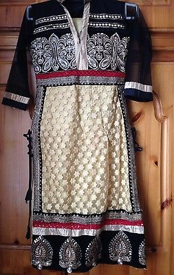 Girls Ladies Shalwar Kameez Black And Gold/ Beige XS And S/M
