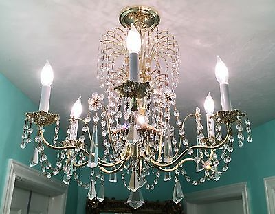 "Schonbek 6 Light Gold and Crystal Chandelier 23.5 "" D x 23.5 "" H"