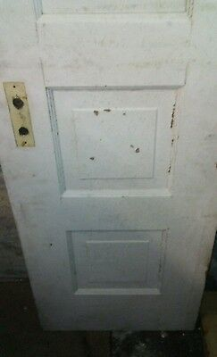 "Antique Wooden 5 Panel Door 84"" x 20 1/8"" x 1 1/2"" painted white"