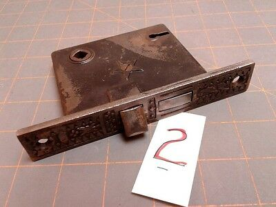 Antique Iron Mortise Door Lock Victorian Eastlake Design
