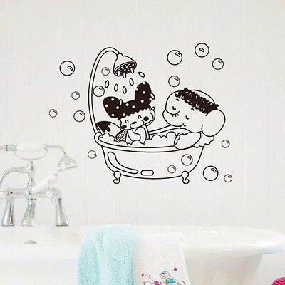Bathroom Door Wall Toilet Seat Cover Sticker Removable Elephant DIY Decal Home D