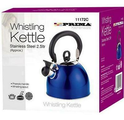 2.5Ltr Metallic Blue Stainless Steel Whistling Kettle Camping Fishing Cordless