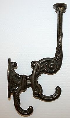 Fantastic Antique Victorian Era Cast Steel Hat Coat & Umrella Triple Wall Hook