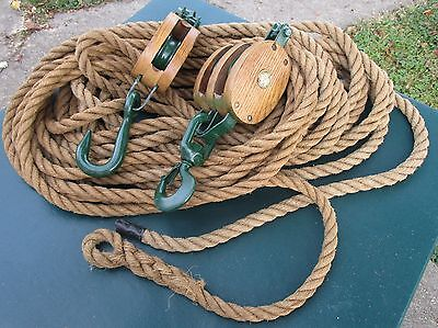 Uw Double Single Wood Metal Block Tackle Pulley  With 100Ft Hemp Rope