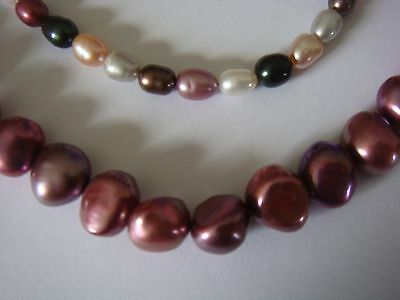 Pink Baroque & Multicoloured Cultured Pearls. 2 strand bundle