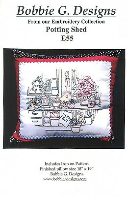 POTTING SHED PILLOW EMBROIDERY SEWING PATTERN, From Bobbie G. Designs NEW
