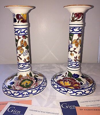 Rare Pair 2 Faience Gien PIVIONES Peonies Candlestick Holder Table Lamp Base COA