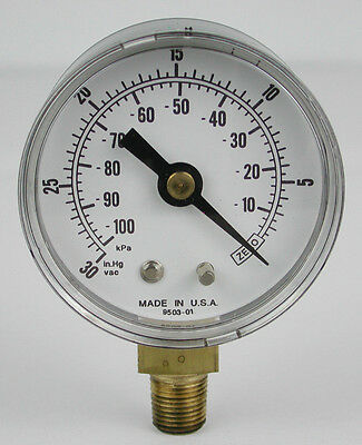 "2"" Vacuum Gauge 9503-1 - 0-30 In.Hg - 0-100kPa - 1/8"" NPT - NEW - Made in U.S.A."