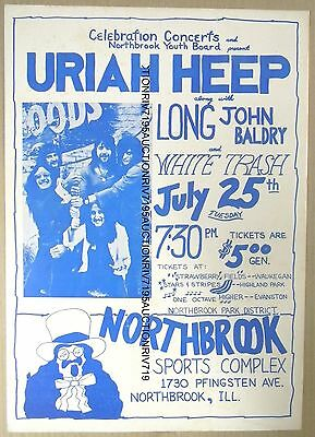 original URIAH HEEP Northbrook IL concert poster 1972 VG condition