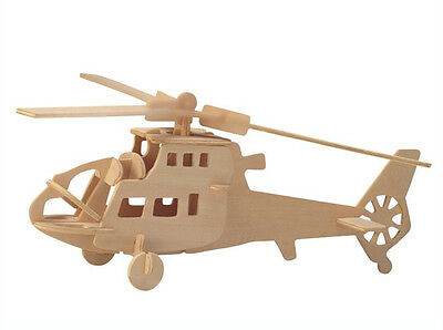 Wooden Assembly Model 3D Puzzles DIY Toy Spielzeug Geduldspiele of Copter Plane