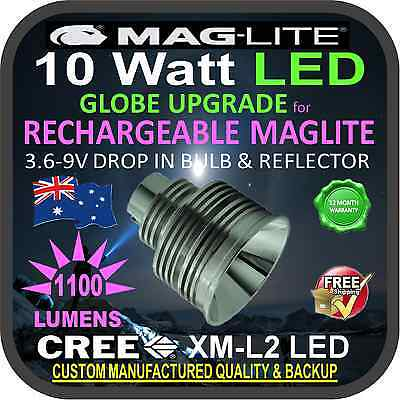MAGLITE LED UPGRADE CREE 10W BULB GLOBE RECHARGEABLE TORCH FLASHLIGHT 1100+lm